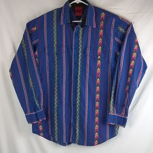 Roper Men's Western Shirt Sz Large Blue Southweste